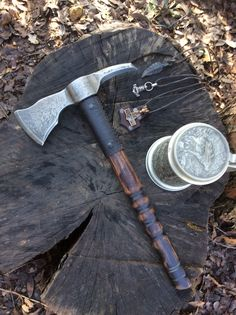 Etching tomahawk spiked pole By Mace Leather Works