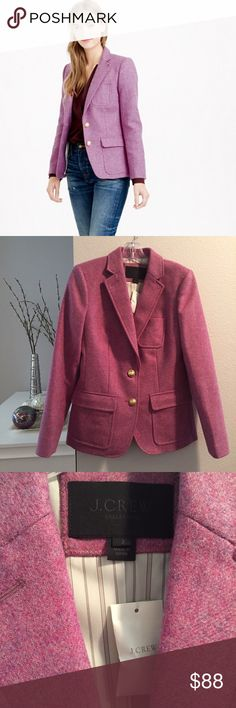 NWT J. Crew Collection Rhodes Blazer NWT Collection Rhodes blazer in heather floral wool in a speckled tweed-like purple. Gold buttons (at cuffs too), patch and flap pockets, and contrast felt collar. Gorgeous in real life. J. Crew Jackets & Coats Blazers