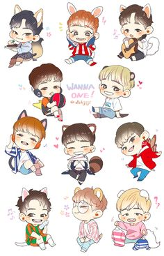 Wanna one fanart · hot korean guys, ong seongwoo, chibi wallpaper, my big love, first art Chibi Wallpaper, Hot Korean Guys, My Big Love, Ong Seongwoo, Ha Sungwoon, First Art, Kpop Fanart, Disney Fan Art, Cute Stickers