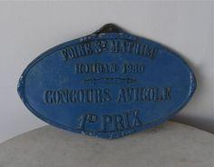 FRENCH AGRICULTURAL BLUE PLAQUE 1st Place CONCOURS AVICOLE Houdan  #RusticPrimitive