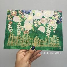 Back detail of one of our latest #invitation designs for a wedding in #Ireland @ashfordcastle We hand drew the castle then paired it with my floral watercolors on a background of emerald green for good luck!  #cecinewyork #irelandwedding #ashfordcastle #gold #foilstamping #watercolor #watercolorinvitation #castlewedding #customweddinginvitation #wedding #weddingstyle #design #graphicdesign #weddinginspiration #weddinginvitation #art #customdesign #oneofakind #beautifyyourworld @oliviab...