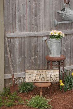 Primitive Aged Fresh Cut Flowers Wood Sign by MillRiverPrimitives