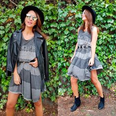 What to wear with a leather jacket: Paula Echevarria pairs the Marciano Moto Leather Jacket with a T-Shirt Dress and black booties #MARCIANO