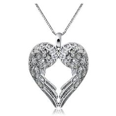 Silver Angel Wing Heart Necklace