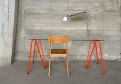 Sinus Trestle table legs by L&Z - simply a bent steel tube, you can put two together with the table top of your choice.  Genius!