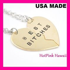 USA BEST BITCHES Friend Large Heart 2pcs Gold Tone Charm Pendant BF Necklaces #HotPinkHawaii #Charm