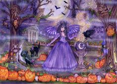 All Hallows Eve.colored pencil mixed media ..Copyrighted by Donna M. Antonucci sparkle  prints and cards available $18.00 8 1/2 x 11 prints  Cards 5 x7  $ 4.00 each