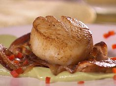 Seared Scallops with Pancetta over Avocado and Wasabi Recipe : Danny Boome : Food Network - FoodNetwork.com