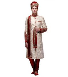 White & Maroon Embroidered Brocade Silk Sherwani #Partywear #Ethnicwear #Lehengas #Sherwanis Wedding Sherwani, Indian Ethnic, Silk, How To Wear, Silk Sarees