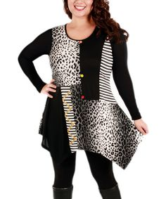Aster Black & White Animal Scoop Neck Tunic - Plus | zulily