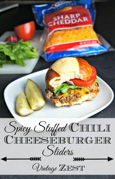 Spicy Stuffed Chili Cheeseburger Sliders #shop #SayCheeseburger #CollectiveBias #cbias 1