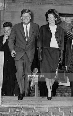 President John F. Kennedy and wife Jacqueline Kennedy leaving the polls after they voted on September 18, 1962.