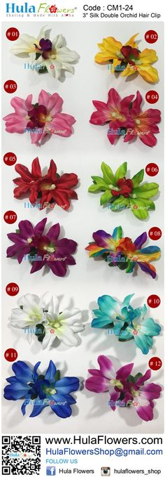 Tropical Hawaii Flowers Hair Clip by HULA FLOWERS ************Sharing And Made with Aloha************ This Flower is made of : 3 Silk Orchid x 2 pcs and Silk Leaves All man made fiber materials Built on a black metal hair clip: 2 long Total size approx. 3 x 4.5 Halau/ Group price are