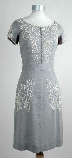 Day Dress Elegant Hand Embroidery On Heavy Irish Linen Charitable Antique Edwardian