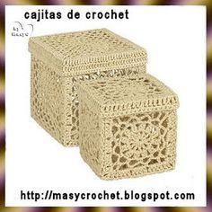 Aquí estas cajas a crochet partiendo de un cuadrado podemos crear estas cajas serian un total de 6 cuadrados que pegaremos entre si...