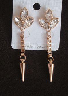 Indian Bollywood Spike Rhinestone Gold Long New Dangle Fashion Earrings Women #vidhijewelss #DropDangle