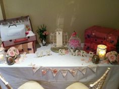 Guest card and gift table. Banner should say, Thank you.