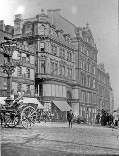 Angel Street and Market Place. Premises in background include H. Brown, Jewellers and T. Cockayne Ltd. Photography Essentials, City Photography, Happy City, Black And White City, Sheffield England, Derbyshire, Historical Photos, Great Britain, Old Photos