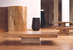 Mesa de centro moderna de madera  SLAB