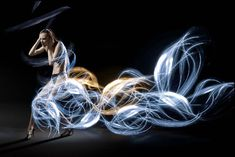 London photographer Atton Conrad captured these stunning images by fusing beautiful models with dresses manufactured from light graffiti. The light Light Trail Photography, Light Painting Photography, Art Photography, Photography Tricks, Headshot Photography, Digital Photography, Fashion Photography, Photography Lighting Techniques, London Photographer
