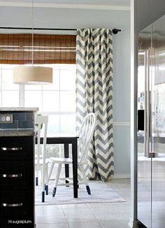 Hi Sugarplum   Breakfast Room West Elm drapes.   Farrow & Ball 'Skylight,' color-matched at Sherwin Williams.   Would look great against Ashes by Behr (she has in her den).