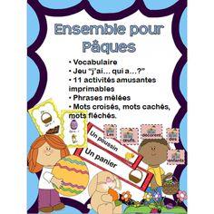 Pâques - Ensemble! Vocabulaire, jeu j'ai qui a, phrases mêlées, cahier d'activités de l'élèves, mots croisés, cachés, fléchés