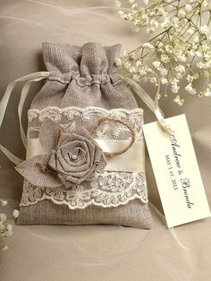 Natural Rustic Linen Wedding Favor Bag ,Lace Wedding Favor, County Style  Favor Bags, Custom Tag