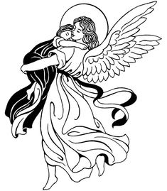 Guardian Angel Catholic Coloring Page.  Feast of the Guardian Angels is October 2
