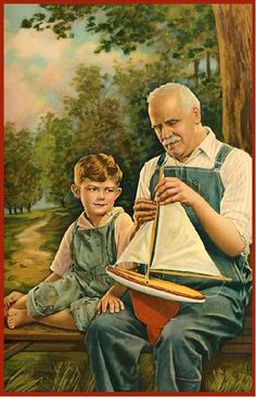 Grandpa and grandson in dungarees with a toy boat. Illustrations Vintage, Illustration Art, Vintage Images, Vintage Art, Grands Parents, Grandma And Grandpa, Norman Rockwell, Grandparents Day, Country Art