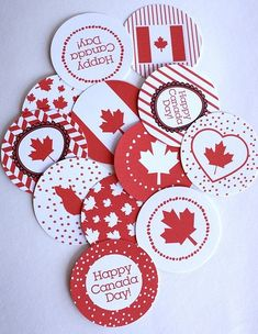 Jenn's Random Scraps: Get Your Canada Day On Canada Day 150, Canada Day Party, Happy Canada Day, Canadian Party, Canada Day Fireworks, Canada Day Crafts, Canada Holiday, World Thinking Day, Cupcake Toppers