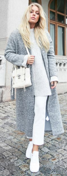 Cute winter style + Angelica Blick + simplistic grey scale look + white culottes + grey cable knit sweater + fuzzy grey maxi coat  Knit: Asos, Coat: Gina Tricot, Trousers: Topshop, Bag: Phillip Lim, Sneakers: Nike.