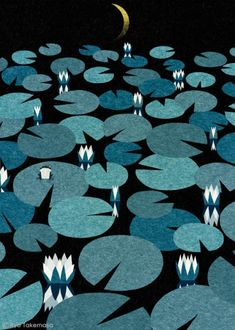 Artist: Ryo Takemasa  #lilypads #graphicdesign Lily pads floating on black water and fading into the night sky. I like this image because takes naturally occurring repetition and reproduces it into a graphic design.