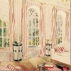 1930s:  A drawing of the studio done up in Beaton's Ashcombe Stripe fabric – in the red colorway.