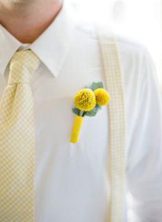 Men's Necktie and Suspenders in Yellow Gingham by MeandMatilda, $52.95