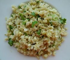 Quinoa and fresh corn with scallions from the blog Alexis Stewart.