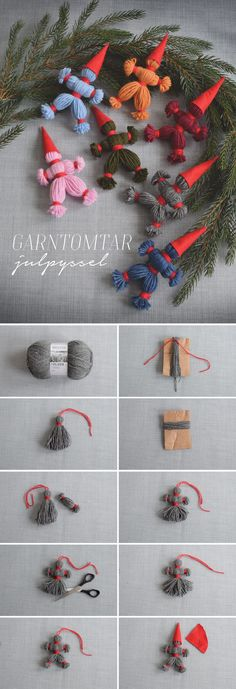 How to make yarn gardens classic Christmas decor Helena Lyth Swedish Christmas, Christmas Art, Xmas, Christmas Ornaments, Yarn Crafts, Diy And Crafts, Diy For Kids, Crafts For Kids, Autism Crafts