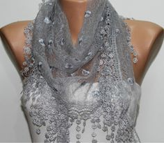 Gray  Shawl Scarf  Headband Necklace Cowl by fatwoman on Etsy, $19.00