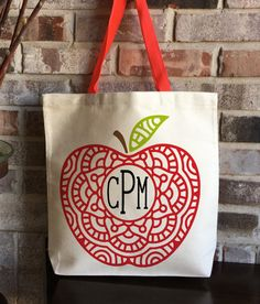 Monogram Personalized Teacher Bag - Apple Mandala - Teacher Appreciation Gift - End of Year Teacher Gift - Large Tote Bag - Gift for Teacher by CarryKindness on Etsy https://www.etsy.com/listing/492938789/monogram-personalized-teacher-bag-apple
