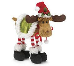 christmas moose decor plush stuffed animal holiday santa hat gift 9 ebay moose art - Christmas Moose Decorations