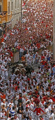 Encierro. (Running of the bulls). San Fermin, Pamplona. Spain