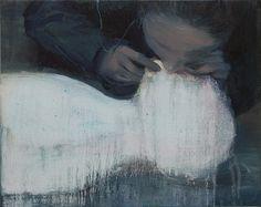 """darksilenceinsuburbia: """"Xie Lei. Blow, 2011. Oil on canvas, 44.1 x 55.2 cm. """""""