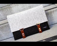 Macbook case - combination wool felt laptop bag - made in USA