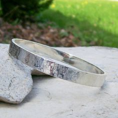 "Sterling Silver Bangle Bracelet with ""Raw Silk"" Hammered Texture by HEvansGems on Etsy"