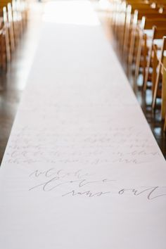Calligraphy aisle runner by Kelly Lee Design, a Snippet & Ink Select vendor! Wedding decor decoration