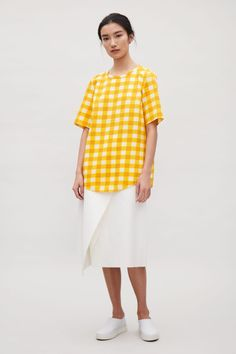 b9f2434920 Tie-back check top - Yellow - Sale - COS ES Light Pink Pants