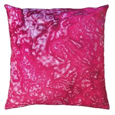 """Handmade RADOST Throw Pillow $54 * REFLECTIONS (PINK) * Removable insert; washable cover * Material: Minky (100% polyester) * Dimensions: 16"""" high x 16"""" wide * Pillow cover care instructions: Machine wash cold and line dry; do not bleach."""
