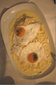 Signature dish: Fettuccine, cream and parmesan, topped with fried truffle egg $46.50