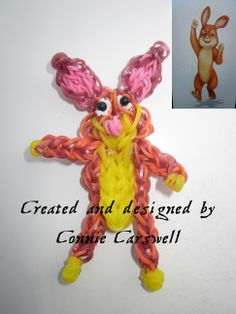 Rainbow Loom Charms - Character - Rabbit from Franklin and Friends with original picture I used for inspiration. - Not at all my best work.  I will re-post once I get the right colour bands.  As I said, please try to look at the shape and not the colours!