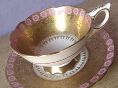 Antique gold tea cup and saucer Royal Stafford by ShoponSherman