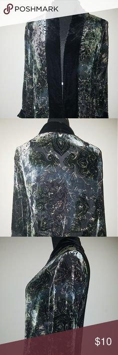 Sheer open shirt Sheer open shirt with velvet trim on neck and 3/4 sleeves Chico's Tops